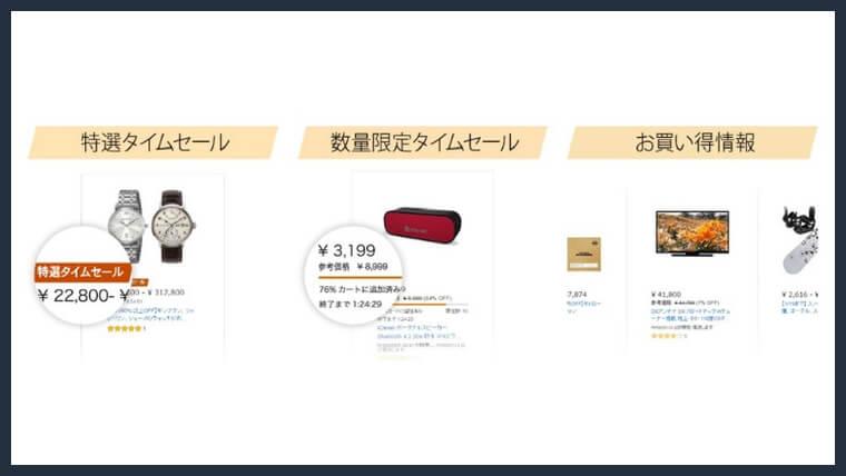 Amazonタイムセールの種類