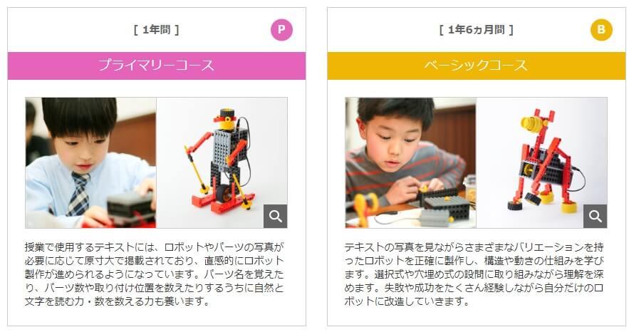 ヒューマンアカデミーロボット教室のコース内容1